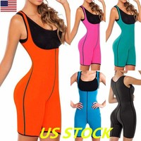 Women Neoprene Sauna Suit Full Body Shaper Ultra Sweat Weight Loss Yoga Bodysuit