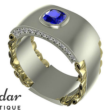 Mens Wedding Band,Unique Men's Ring,Blue Sapphire Wedding Band For Mens,Cushion Cut Men's Ring For Wedding,Vidar Boutique Rings,Diamond Ring