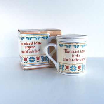 Vintage Hallmark Mug Mates Nicest Mom Coffee Cup and Coaster, Vintage Hallmark Mom Cross Stitch Coffee Cup and Coaster c1983