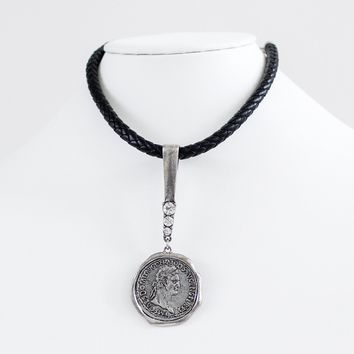 Metal Coin Pendant Leather Chain Necklace