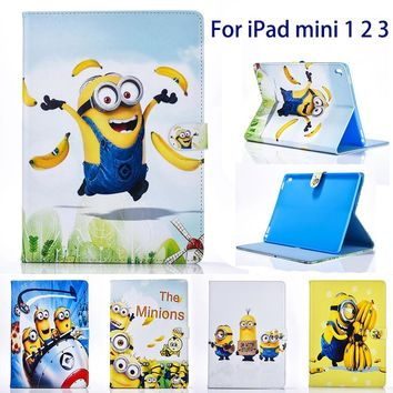 "Tablet case cover for apple ipad mini 1 2 3 case Cover for ipad 7.9"" case Minions Cartoon Dad stand PU Leather Cover Child"