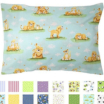 TODDLER PILLOWCASE - 100% Cotton - 200 Thread Count - Soft Percale - Envelope Style - Fits 13x19 Pillows - *PREMIUM PRODUCT Made in Virginia (Lions)