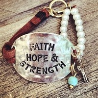 Faith Hope Strength Pearl Bracelet