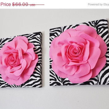 MOTHERS DAY SALE Zebra Wall Hanging Bright Pink Roses on Zebra Canvases -Set Of Two- Animal Print Wall Decor