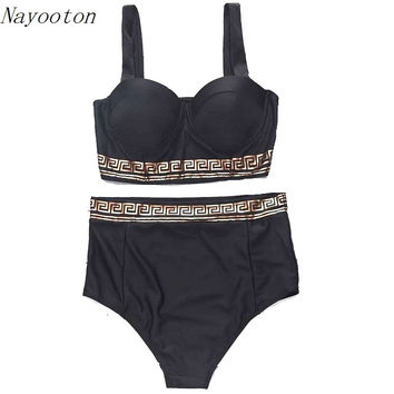 2017 NEW printing Holiday Travel design adult swim high waist two piece swimsuit Foil stamping Women swimwear swimming D080