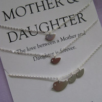 Mother Daughter Jewelry. Mother Daughter Necklace // Mother Daughter // All Sterling Silver Bird Necklaces // Simple Delicate Sterling