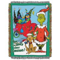 """Dr. Seuss How the Grinch Stole, Christmas Smile Tapestry Throw by The Northwest Company, 46 by 60"""""""