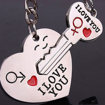 Couple Keychain Keyring Keyfob Valentine's Day (Christmas gifts) 1 Pair Lover Gift Heart Key (Color: Silver) = 1929787332