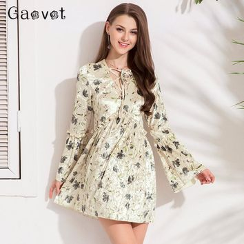Gaovot New Women Dresses Series Spring Velvet Leaf Print Lace Up Sexy Bodycon Party Dress Fashion Patchwork Vestidos KW173047