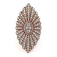 3.96ct Pavé Diamonds 14K Rose Gold Marquise Daisy Flower Statement Ring - Size 7