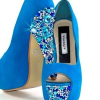 Blue Suede Peep Toe Crystal Embellished High Heels
