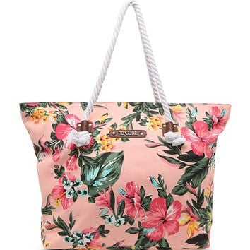 Rip Curl Paradise Floral Print Beach Bag - Womens Handbags - Peach - One