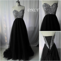 A Line Prom Dress,Beaded Evening Dresses,Black Party Dress,Tulle Bridesmaid Dresses,Long Prom Dresses,Sweetheart Neck Homecoming Dress