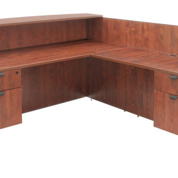Legacy Double Box File Pedestal Reception Desk- Cherry