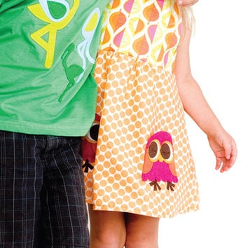 Owl Pocket Polka Dot Smock Dress