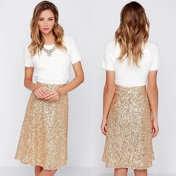 Shiny Women Champagne Christmas Skirt Knee Length High Waist A-Line Sequin Skirt Sexy Club Party Skirt 2017 Winter Vestido