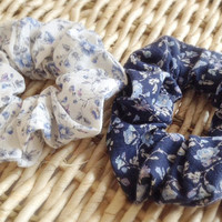 Hair scrunchies, Light Blue Flowers, Soft Texture Cotton, White or Navy