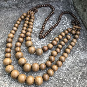 Artisan Crafted Chunky Mala Bead Wooden Multi Layer Necklace