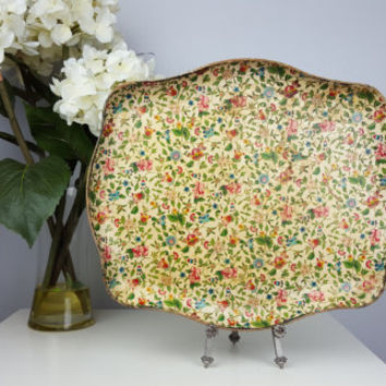 Vintage Floral Serving Tray Alfred E. Knobler Japan, Mid Century Serving Tray, Pink Green Blue Gold Floral Tray, Shabby Chic, Cottage Decor