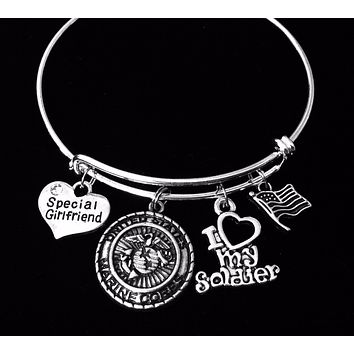 Marine Girlfriend Gift for Girlfriend of Marine Jewelry Expandable Charm Bracelet Silver Adjustable Bangle One Size Fits All Gift Marines USMC