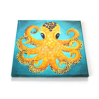 Octopus, Acrylic Painting, 12x12 inch canvas, beach & ocenat themed art