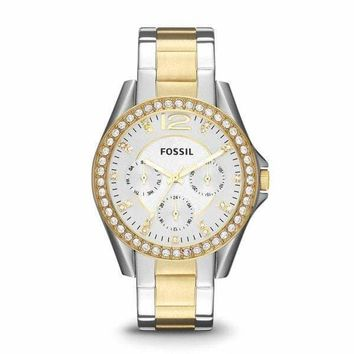 Riley Silver and Gold-Tone Fossil Watch For Women