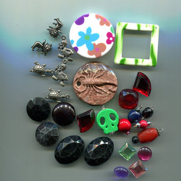 bead drops charms pendants cabochons mixed jewelry findings lot 27 pc grab bag
