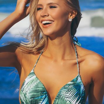 Twisted Leaf Print Swim Top Green