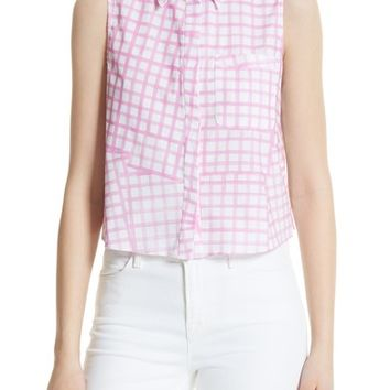 Milly Leah Tie Back Stretch Cotton Blouse | Nordstrom