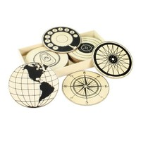 Circular Wood Coasters - Set of 12