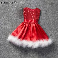 Baby Girls Christmas Dress Toddler Party Wedding Dress Children Red Sequined Princess Dress Girls Clothes With Feathers Vetidos