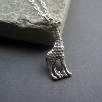 Sterling Silver Giraffe Necklace   Giraffe Necklace  by jayval