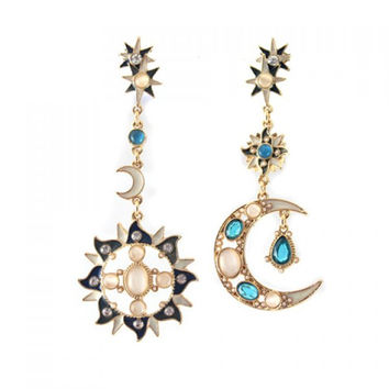 Pair of Chic Diamante Faux Opal Embellished Moon / Sun Pendant Earrings