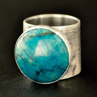 Statement Ring Turquoise Dyed Howlite and Solid Sterling Silver Size 6 1/4 One of a Kind