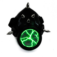 Green Plasma Light Cosplay Respirator Gas Mask Sound Activated Bio Hazard