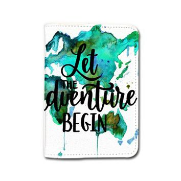 Color Water World Map Let The Adventures Begin Passport Holder - Customized Cute Travel Passport Covers - Passport Wallet_Emerishop