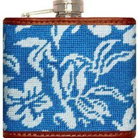 Hibiscus Needlepoint Flask in Blue by Smathers & Branson