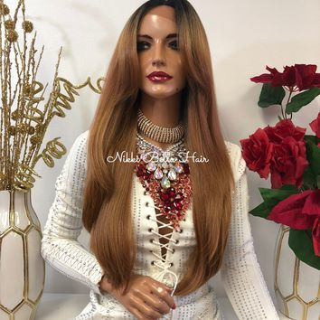 "Blond Balayage Ombre Swiss 360' Multi Parting Frontal Lace Wig  24"" Palm 1118 40"