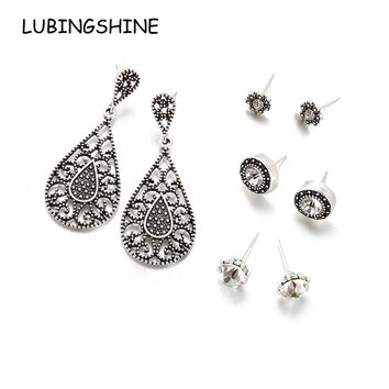 LUBINGSHINE 4 Pairs/set Hollow Stud Earrings Set Birthday Fashion Water Drop Crystal Rhinestones Long Earring Party Jewelry