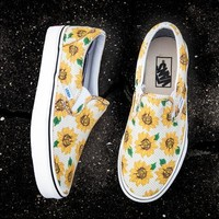 VANS Fashion Women Flat Shoes Sunflower lazy shoes B-ALS-XZ Yellow Flower
