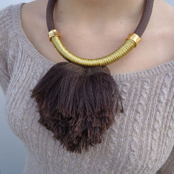 Fiber Necklace. Climbing Rope Necklace in brown & gold. Statement Necklace. Fringe necklace.  Women jewelry, women accessory, for her.