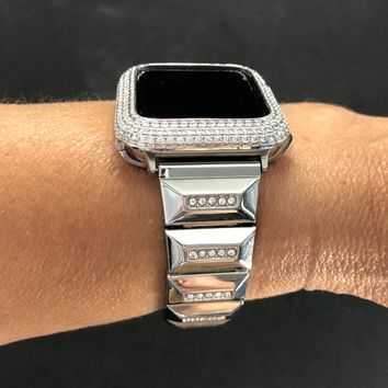 40mm 44mm Apple Watch Band Series 4 Womens Mens Silver Rhinestone Crystal Iced Out Diamonds Iwatch Bling Smart Watch