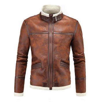 Trendy Herobiker Motorcycle Jackets Men PU Leather Jacket Vintage Retro Zipper Biker Punk Classical Windproof Faux Leather Moto Jacket AT_94_13