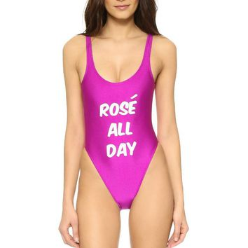 ROSE ALL DAY letters print rose red vest type one piece bikini show thin SEXY backless swimwear