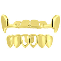Half Top Grillz Designer Bottom Yellow Finish Sale