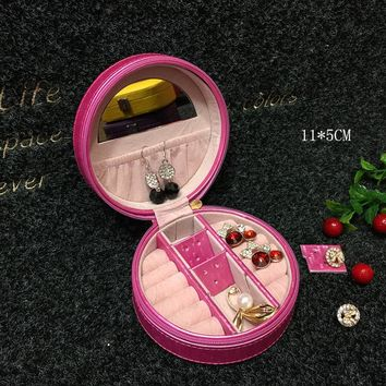 Portable Round Small Gift Box With Mirror PU  Jewelry Storage Box For Ring Necklace Earrings  Creative Travel Jewelry Cases