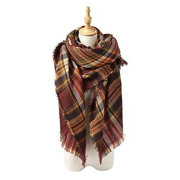 Women's Soft Warm Plaid Tartan Tassels Scarf Fall Winter Large Checked Blanket Scarves Wrap Shawl Pashminas