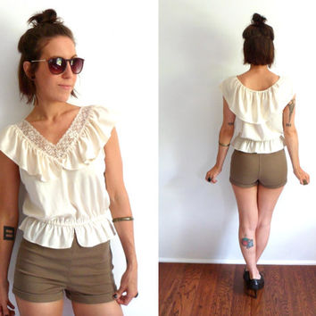 Cream Lace & Ruffles Peasant Top Cropped Prairie Shirt