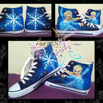 Custom Painted Converse Style Disney Frozen Shoes