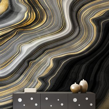Black and Gold Abstract Marble Stone Pattern Wall Mural. #6146